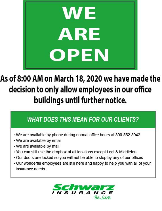 Schwarz Insurance we are open